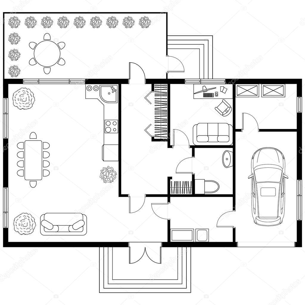 Bauplan Eines Hauses Mit Garage