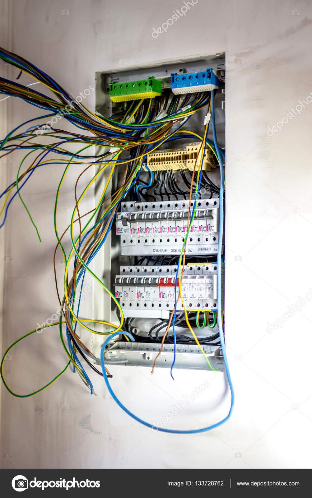 medium resolution of electrician fixing electric panel stock photo automatic fuse switches circuit breaker and wiring terminal in cabine photo by fotovincek