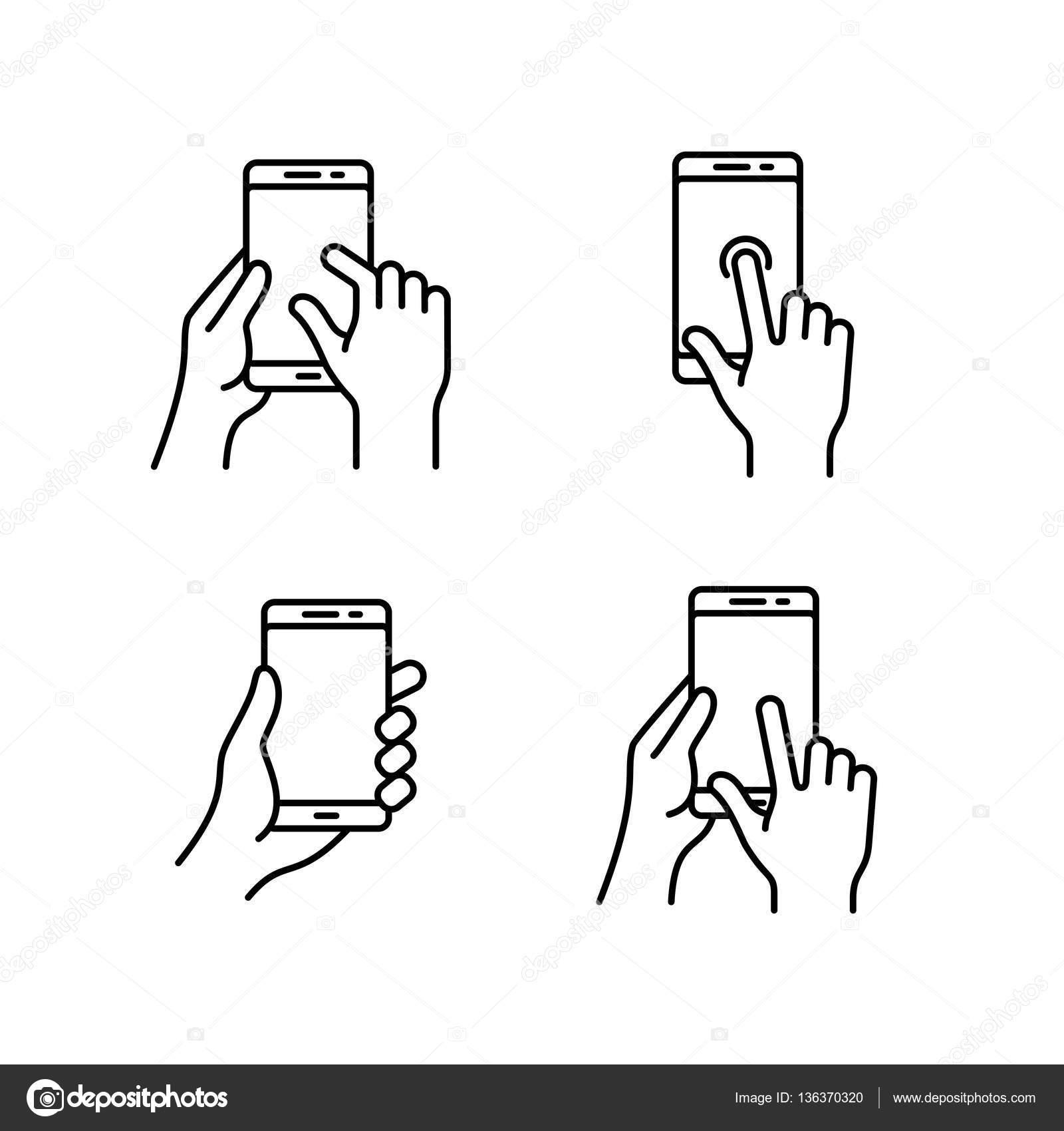 Ícones de gesto de smartphones — Vetor de Stock © frbird