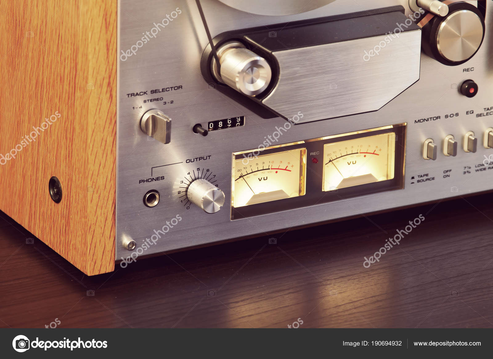 hight resolution of vintage open reel to reel tape deck stereo recorder vu meters stock photo