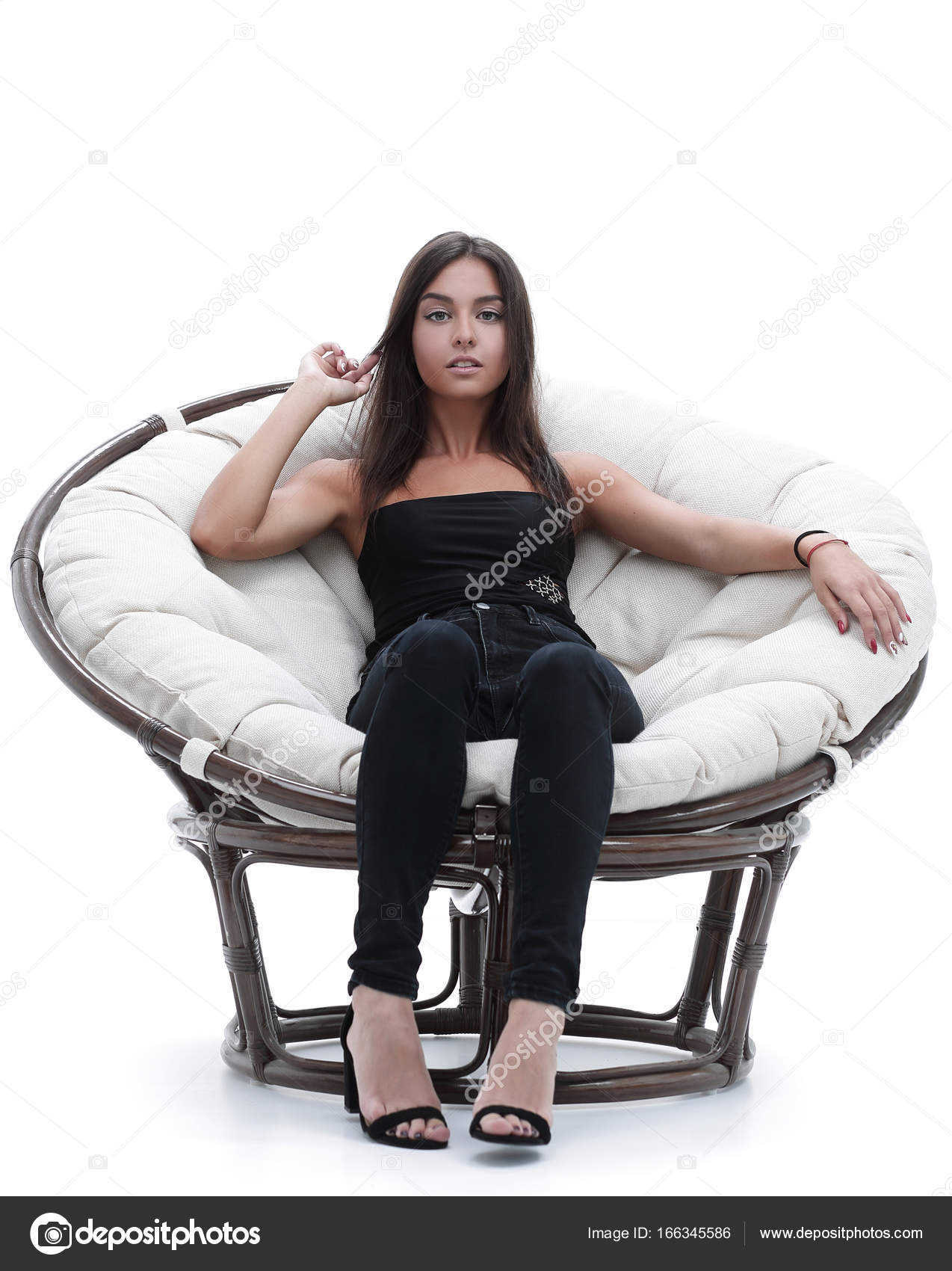big round comfy chair grey velvet young woman sitting in comfortable  stock