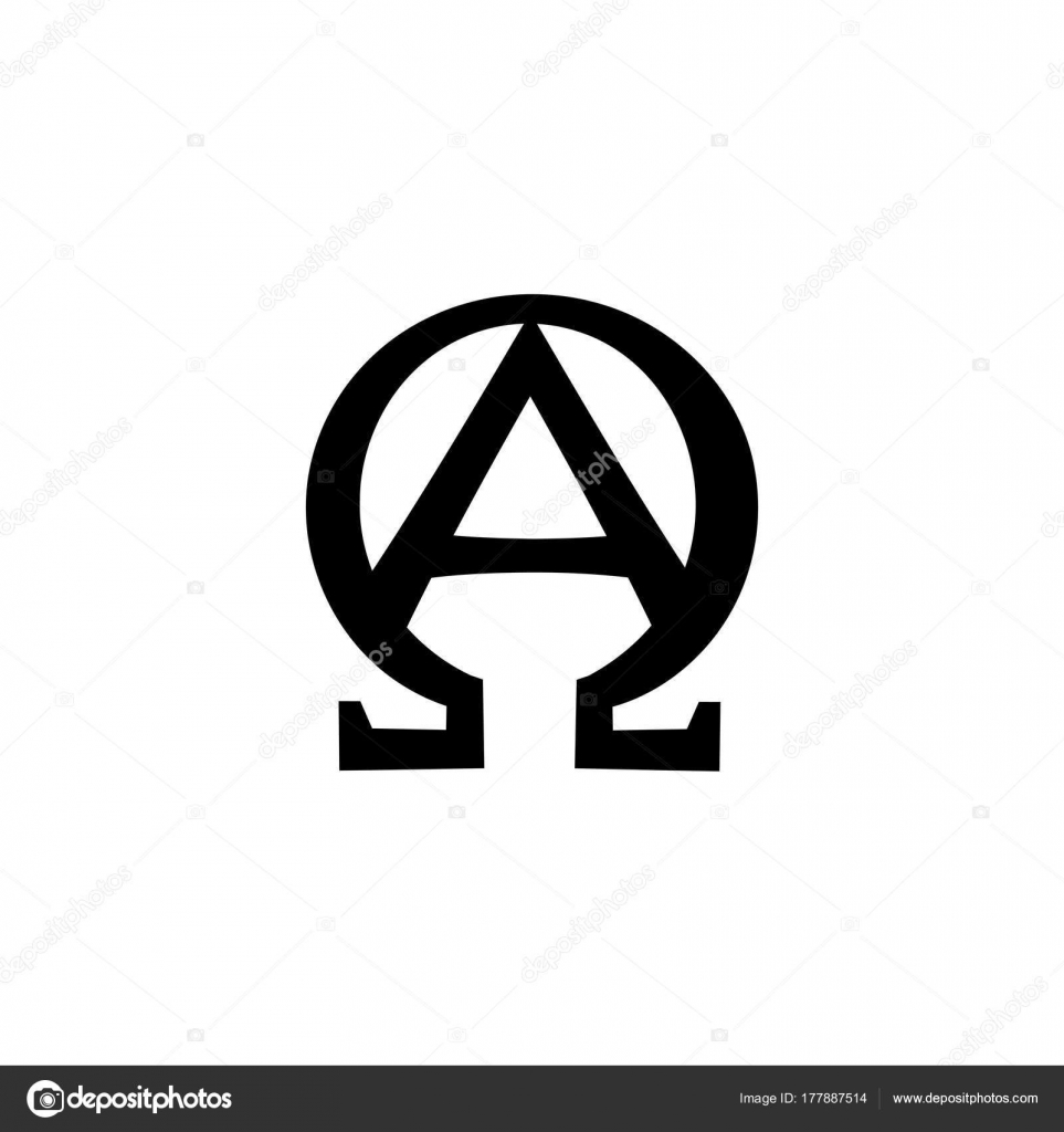 Monogram Of The Biblical Phrase I Am Alpha And Omega Stock Vector