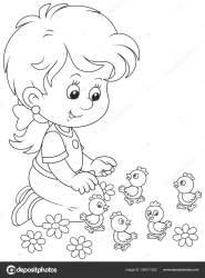 Clipart: little girl black and white Little Girl Playing Small Funny Chicks Black White Vector Illustration Stock Vector © AlexBannykh #186311252