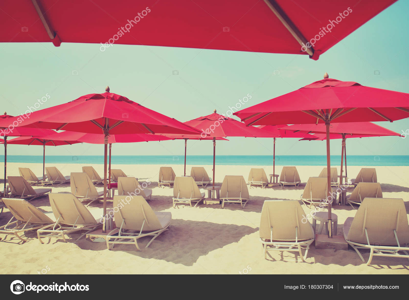 beach chairs with umbrellas bar walmart sand color filter applied stock photo and on a by mazzzur