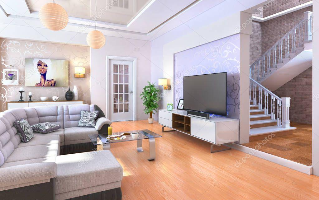 Living moderno  Moderno living comedor con piso de madera