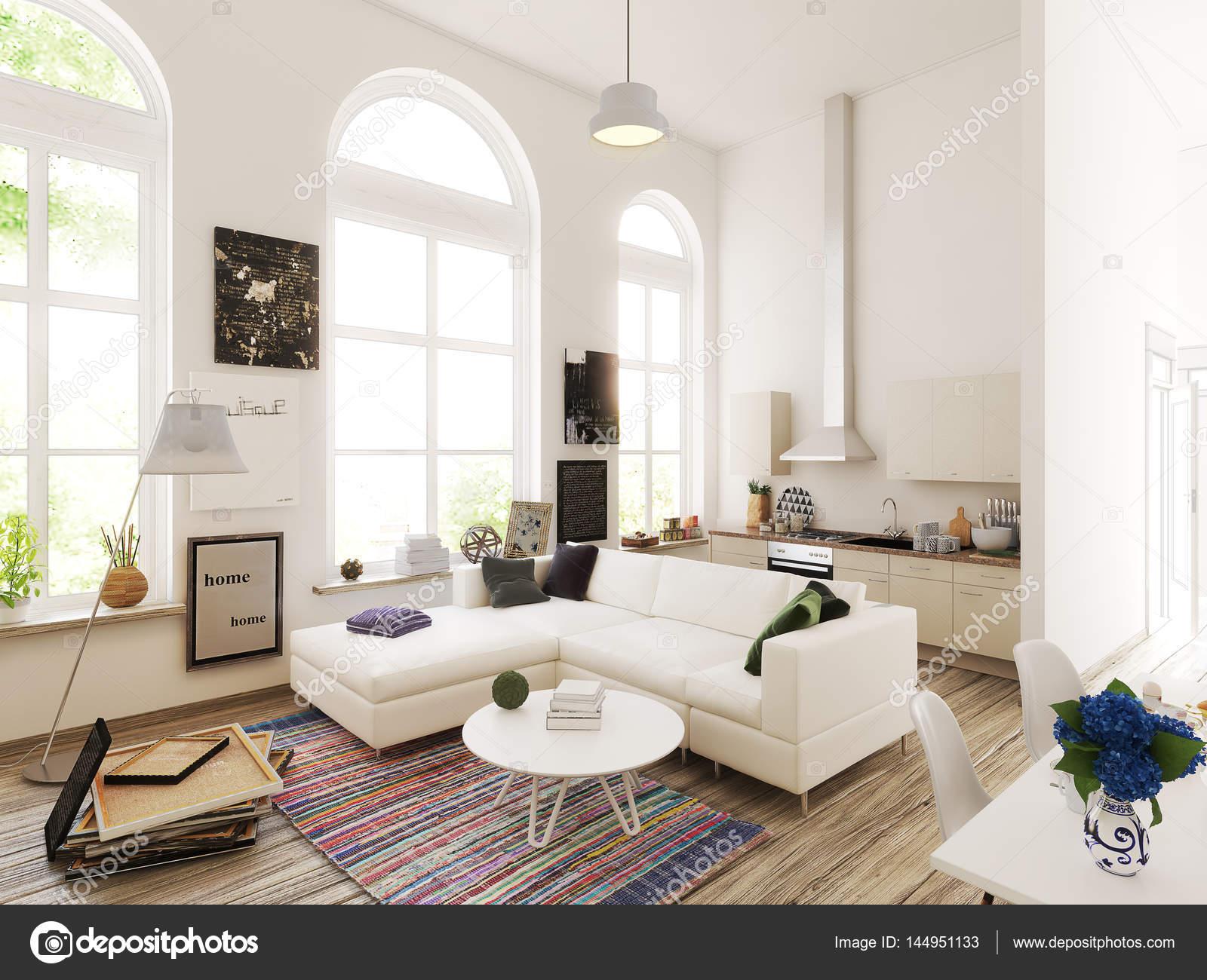 Progettazione cucina e soggiorno illustrazione 3D  Foto