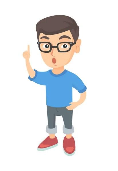 聰明的小男孩與眼鏡和手指點上有一個想法。矢量圖 — 圖庫矢量圖像© maia3000 #120554196