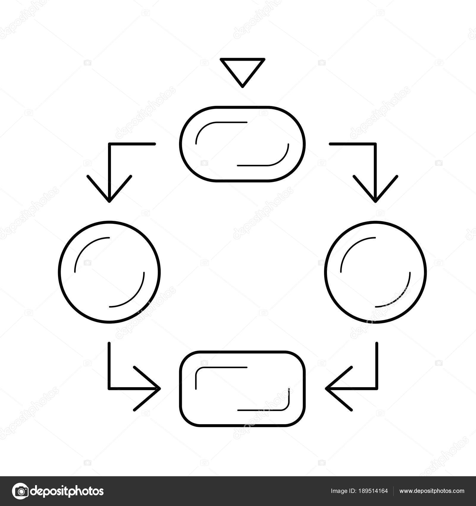 hight resolution of flow diagram line icon stock vector