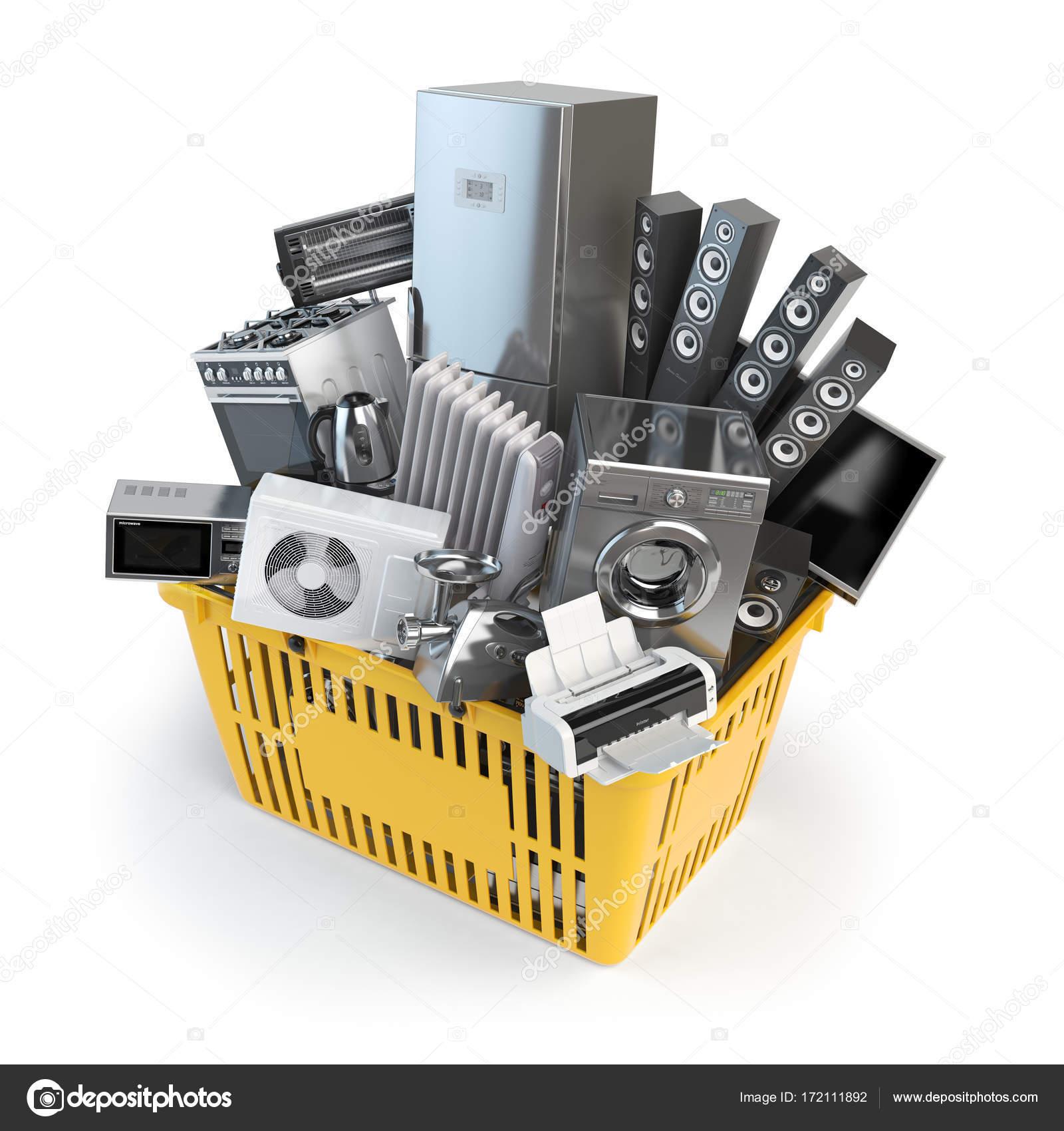 kitchen supplies online updated kitchens 厨房用具在购物篮里 在线电子商务概念 图库照片 c maxxyustas 172111892