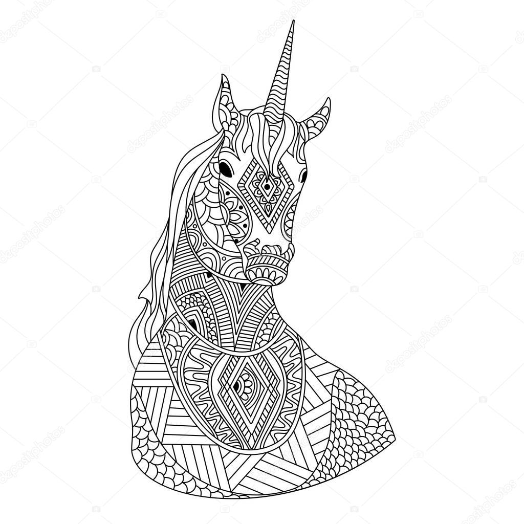 Hand drawn doodle illustration of Unicorn. — Stock Vector