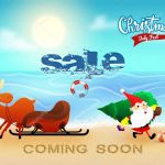 Christmas Sale In July Banner Poster Or Flyer Design With Santa Claus Holding Xmas Tree Reindeer With Sleigh And Beach Background Coming Soon Text Premium Vector In Adobe Illustrator Ai