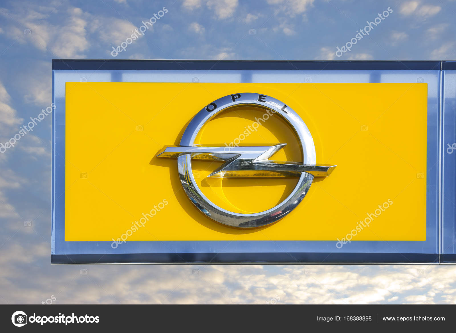 hight resolution of opel logo on a showroom facade stock photo