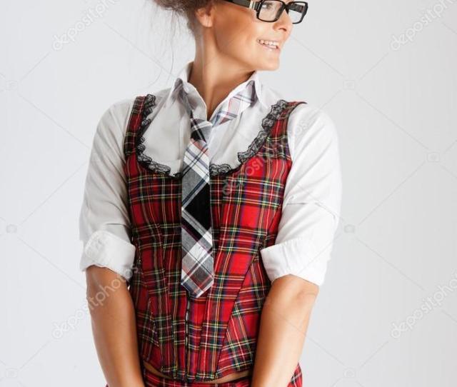 Sexy School Girl In Plaid Skirt Stock Photo