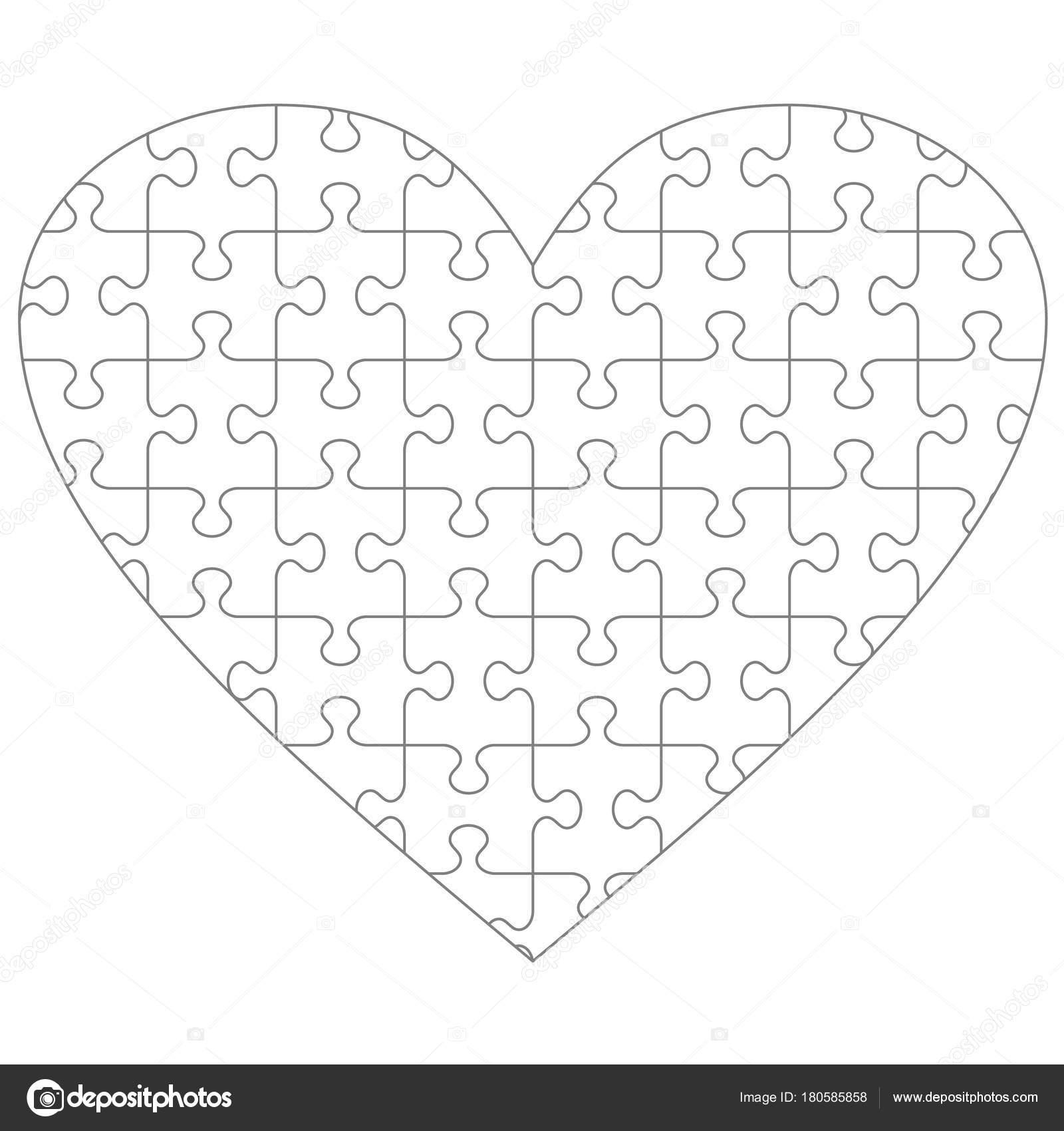 Modello Vuoto Puzzle Forma Cuore Con Pezzi Trasparenti