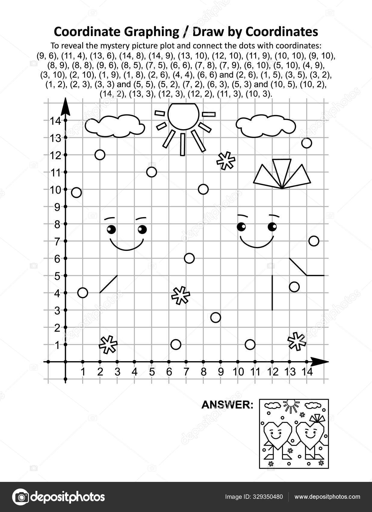 hight resolution of Coordinate Graphing Draw Coordinates Math Worksheet Valentine Day Two  Friendly ⬇ Vector Image by © ratselmeister   Vector Stock 329350480