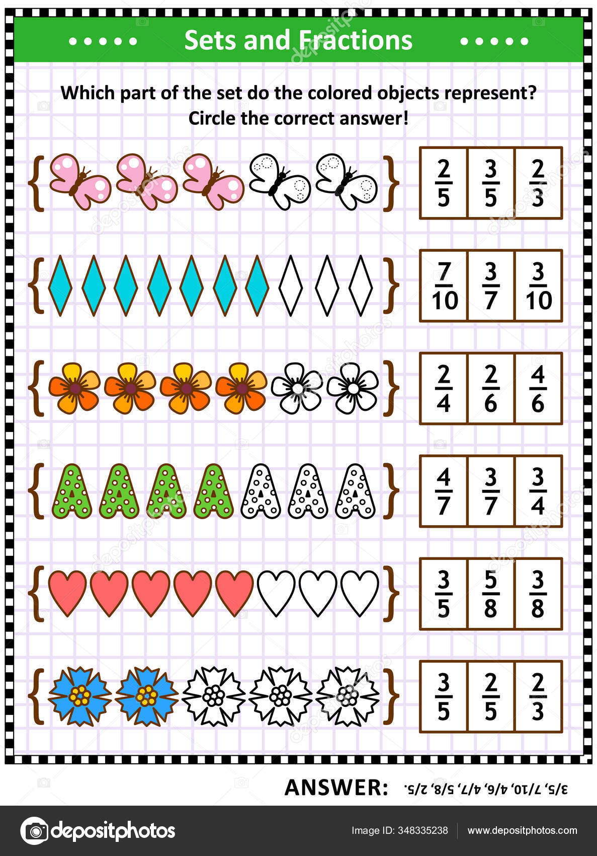 Math Puzzle Worksheet Schoolchildren Adults Pictorial