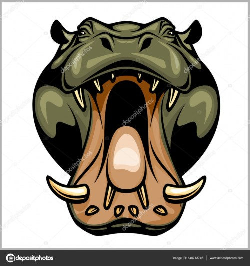 small resolution of hippopotamus head isolated on white vector illustration vector by digital clipart