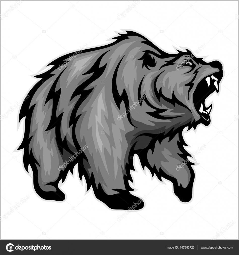 hight resolution of grizzly bear mascot vector image isolated on white vector by digital clipart
