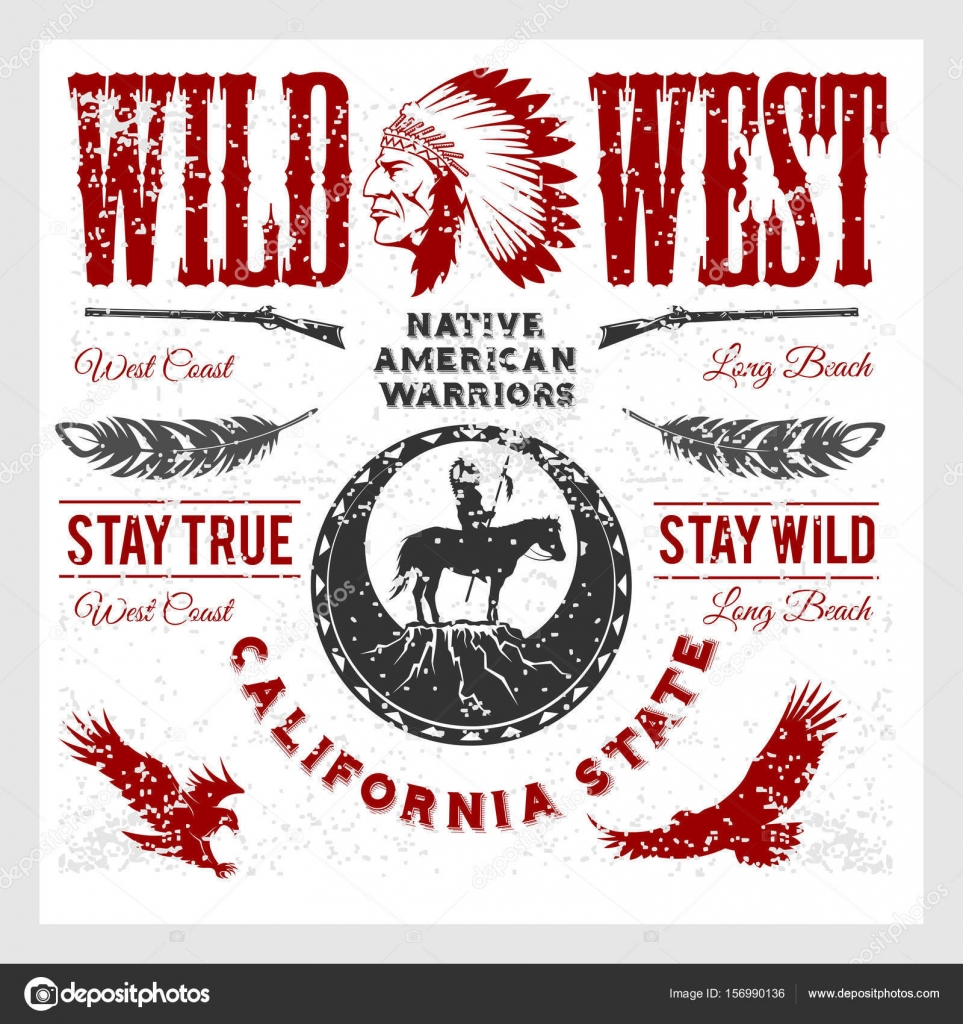 medium resolution of set of wild west american indian designed elements monochrome style on light background vector by digital clipart