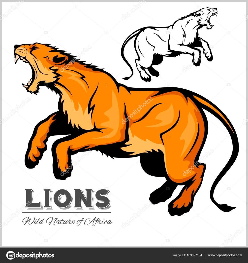 medium resolution of lioness color and black white image vector isolated illustration on white vector by digital clipart