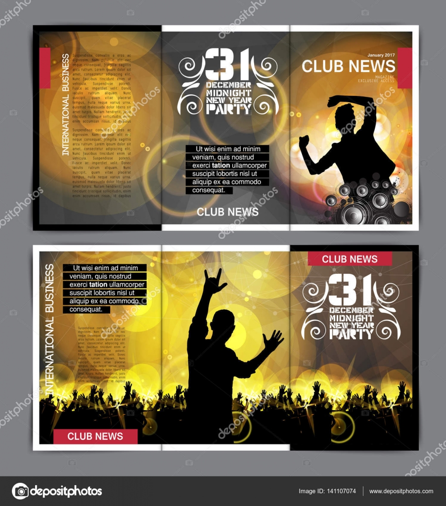 Disco Party Brochure Layout — Stock Vector