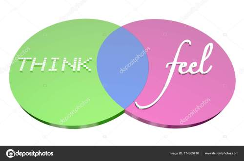 small resolution of think vs feel venn diagram emotions logic stock photo