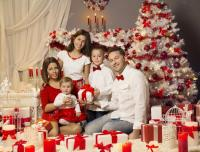 Christmas Family Celebrating Portrait, Xmas Tree Decorated ...