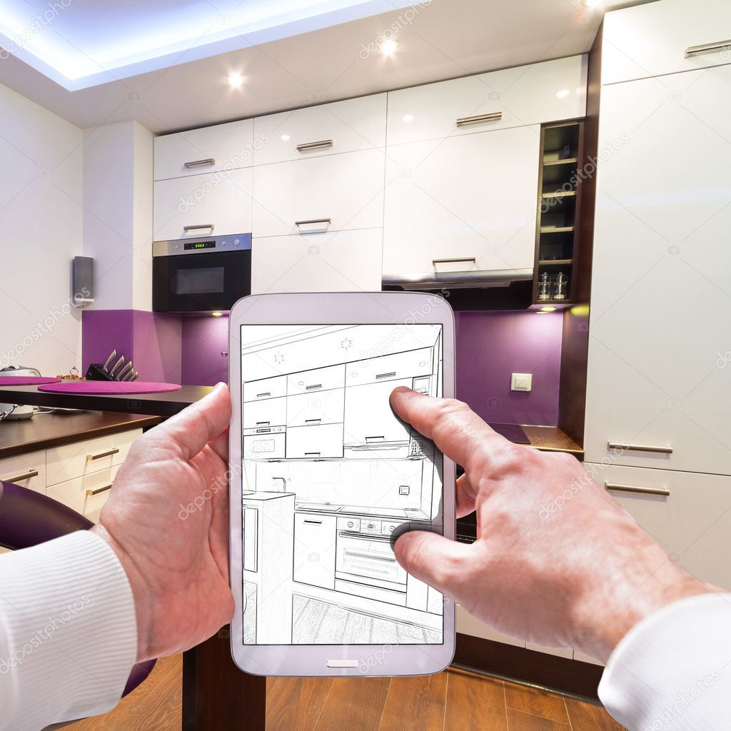 kitchen visualization tool best undermount sink 内部可视化计划 图库照片 c patryk kosmider 126166178 在平板电脑上厨房室内草图 照片作者patryk