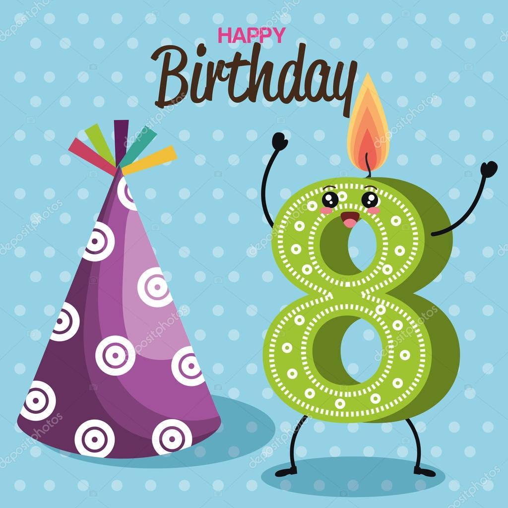 祝你生日快樂卡與蠟燭數 — 圖庫矢量圖像© yupiramos #132063236