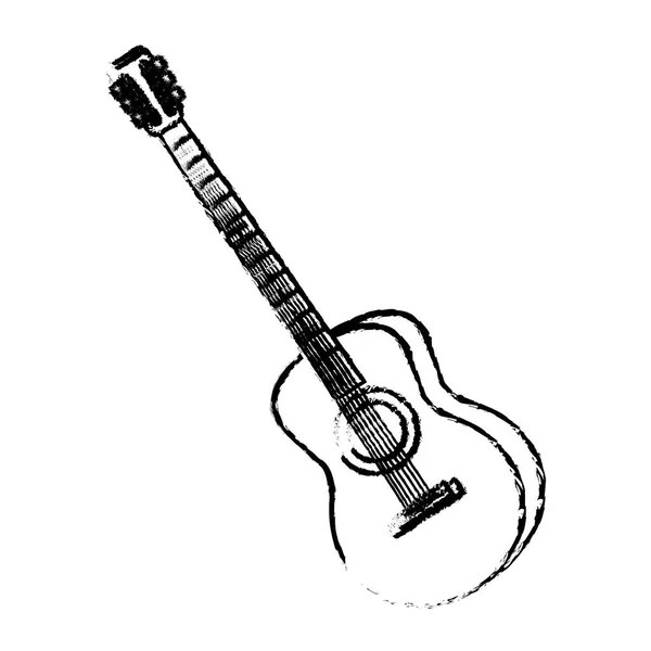 Country and Western Guitar Outline — Stock Vector