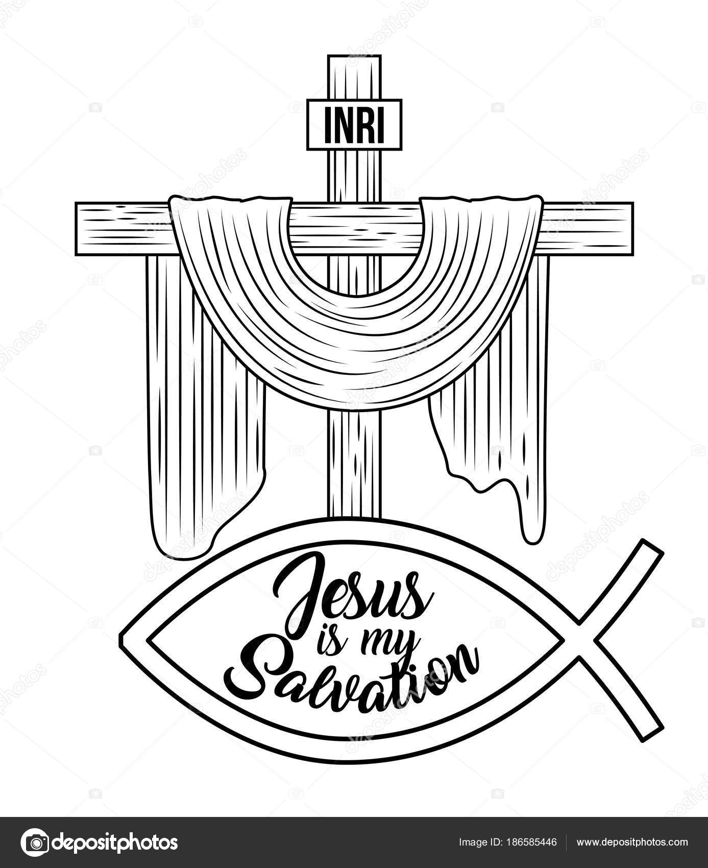 Jesus Is My Salvation Sacred Cross Hand Drawing Image