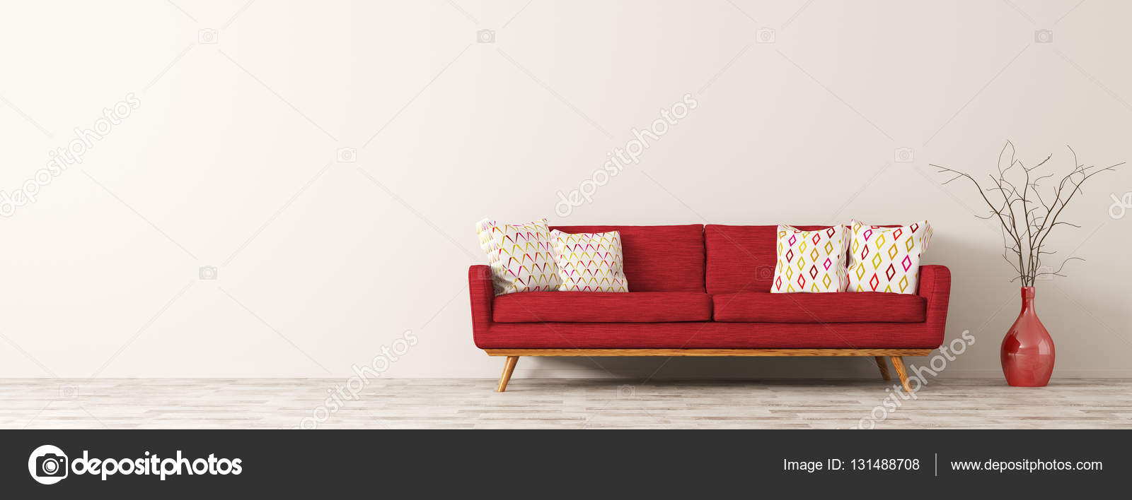 red sofa white living room woodwork ideas modern interior of with 3d render stock photo cushions and vase branch panorama rendering by scovad