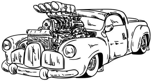 Vector retro cartoon hotrod — Stock Vector © mechanik #2457819