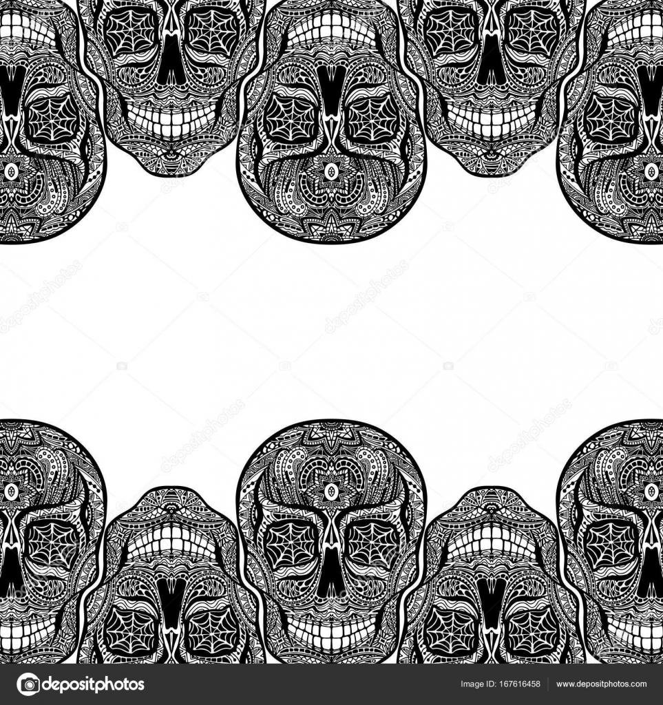 Fondos Tatuajes Blanco Y Negro Ilustración Del Cráneo Blanco Y