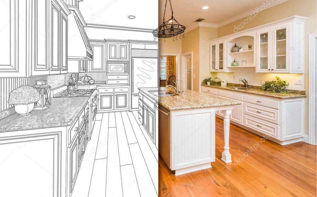 new kitchen small remodel 拆分屏幕绘图和新厨房的照片 图库照片 c feverpitch 126435930