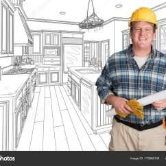 Kitchen Contractor Dish Sets 在定制厨房图纸前戴安全帽的男承包商 图库照片 C Feverpitch 173560106