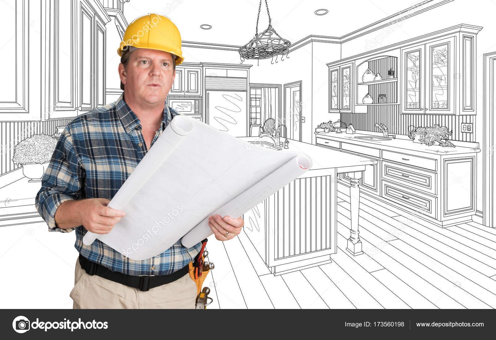 kitchen contractor rolling cart for 在定制厨房图纸前戴安全帽的男承包商 图库照片 c feverpitch 173560198