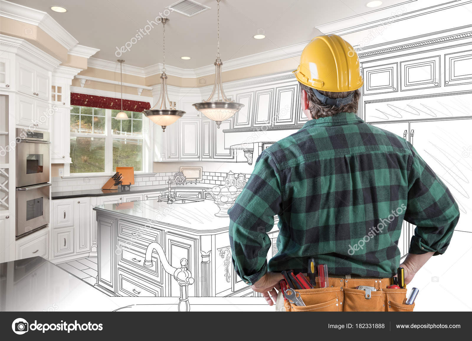kitchen contractor curtain fabric 男性承包商与坚硬帽子和工具传送带看风俗厨房图画相片组合在白色 图库 男性承包商与坚硬帽子和工具传送带看风俗厨房图画相片组合在
