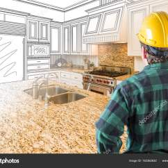 Kitchen Contractor Farm Table 男性承包商与坚硬帽子看风俗厨房图画相片组合在白色 图库照片 图库