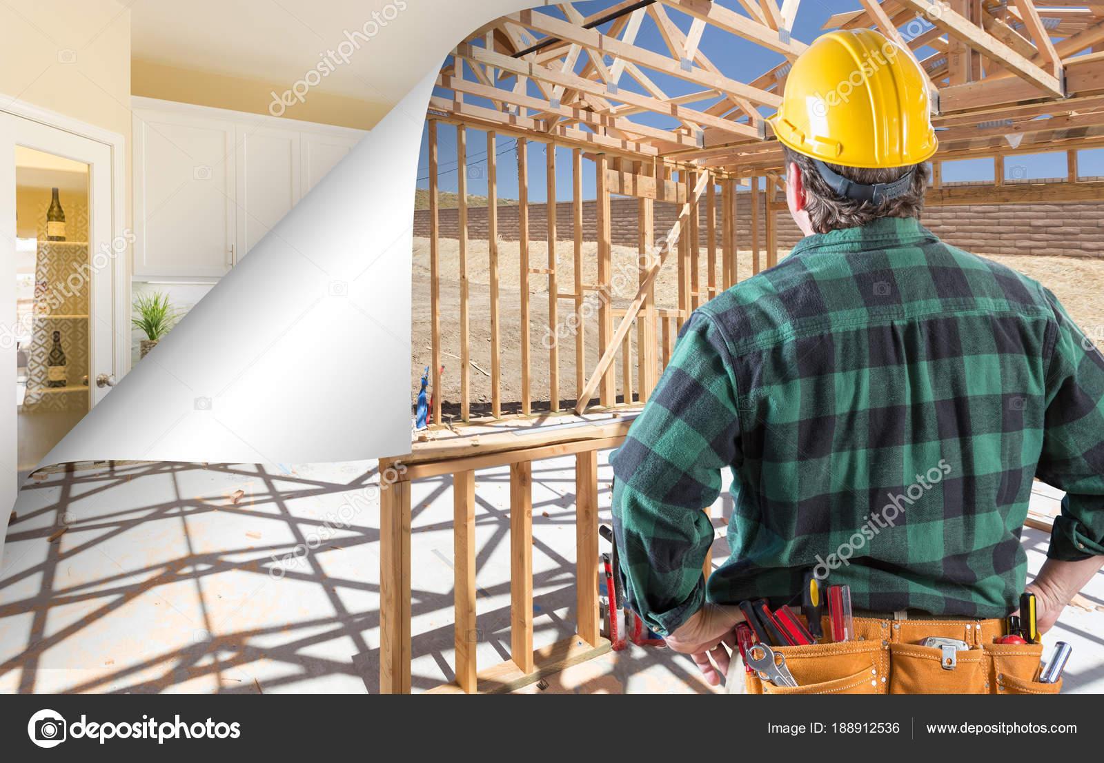 kitchen contractor framed art 承包商面临施工框架与页面角落翻转到完成厨房 图库照片 c feverpitch