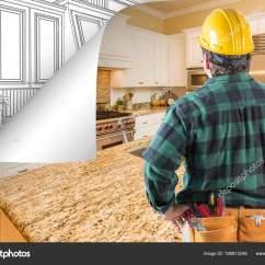 Kitchen Contractor Sinks For 30 Inch Base Cabinet 承包商面对厨房照片与页角翻转到后面画 图库照片 C Feverpitch 188913248