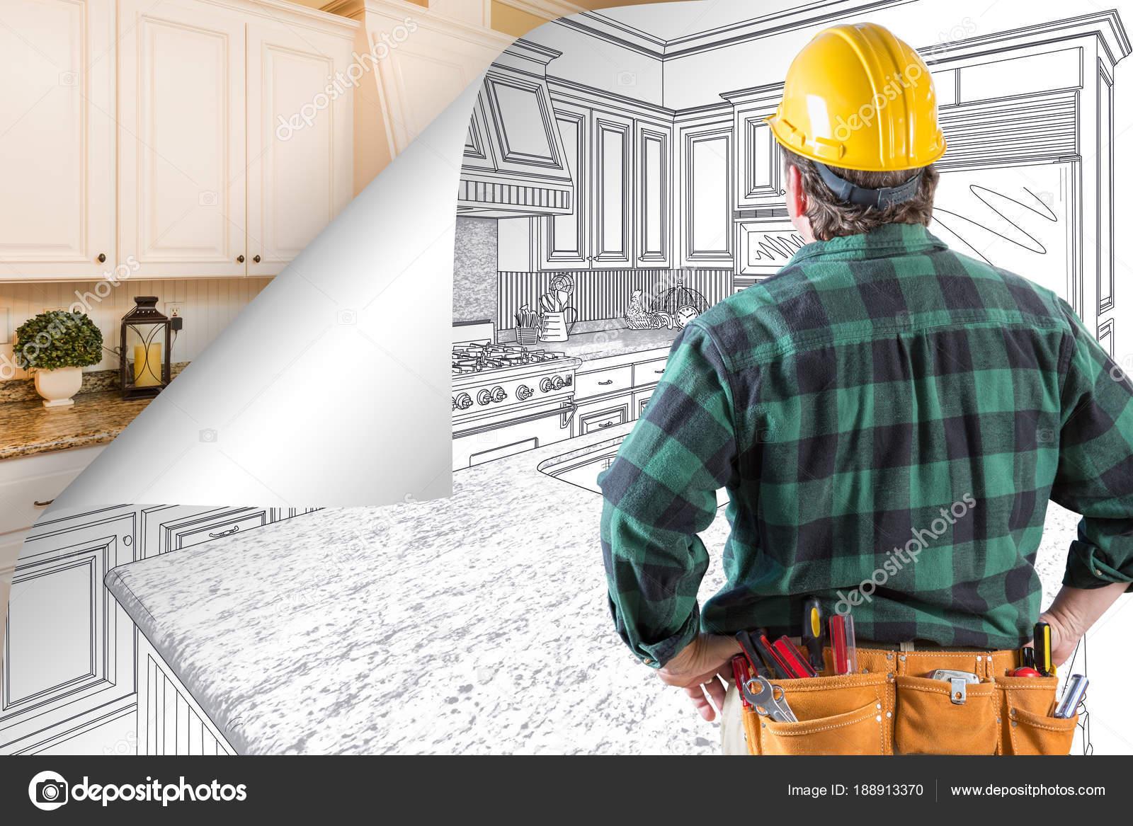 kitchen contractor transformations 承包商面对厨房图纸与页角翻转到完成照片背后 图库照片 c feverpitch 图库