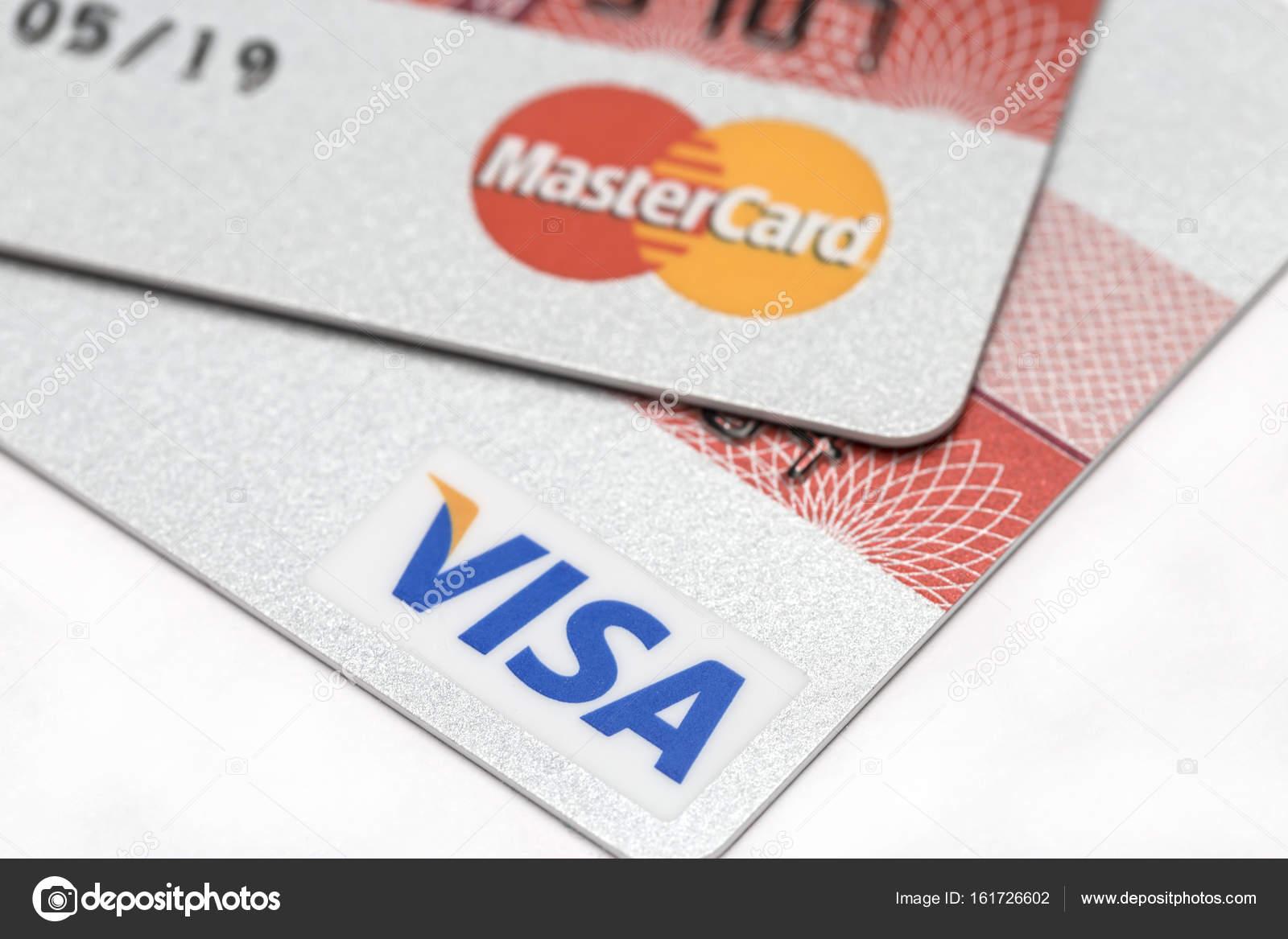 Carte Visa E Mastercard Credito Foto Editoriale Stock
