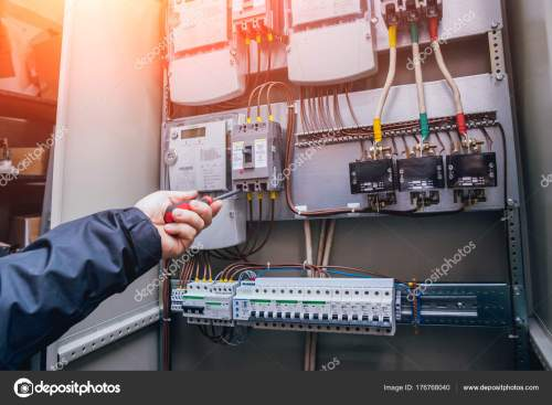 small resolution of wires switches electric box electrical panel fuses contactors stock photo