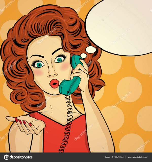 Surprised Pop Art Woman Chatting Retro Phone . Comic Wi Stock Vector