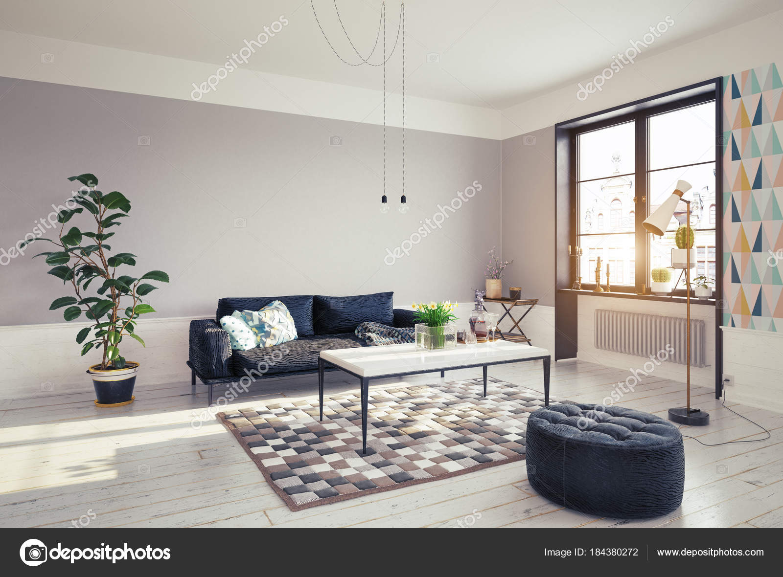living room big window home decorating ideas corner view modern design grey walls stock photo