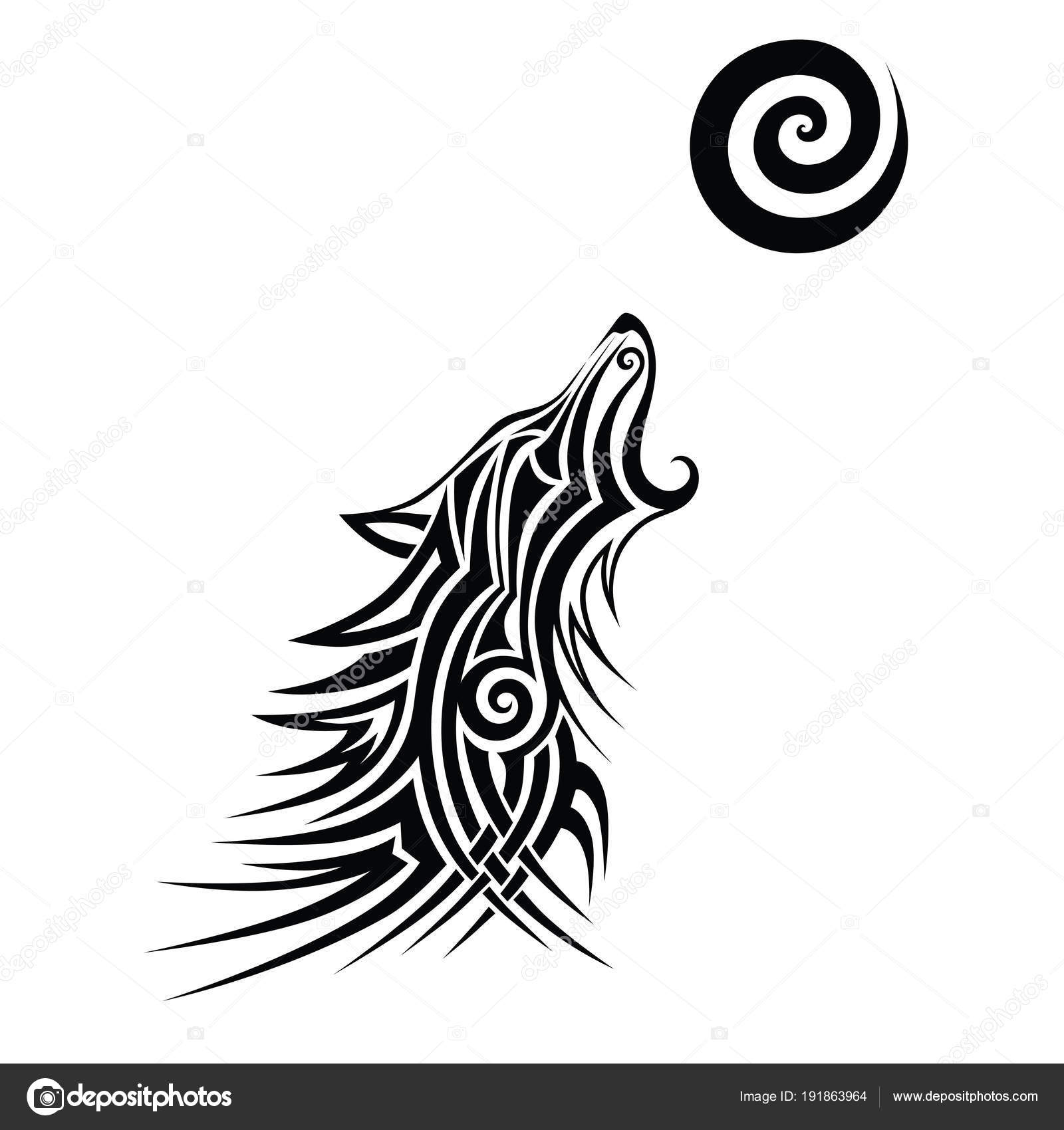 Lobo Tribal Del Tatuaje Negro Diseño Vector Arte Idea Sketch