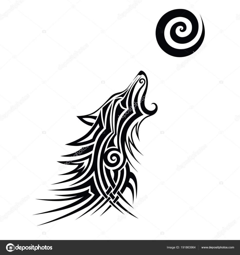 племенных волк тату черный дизайн вектор искусства идея эскиз