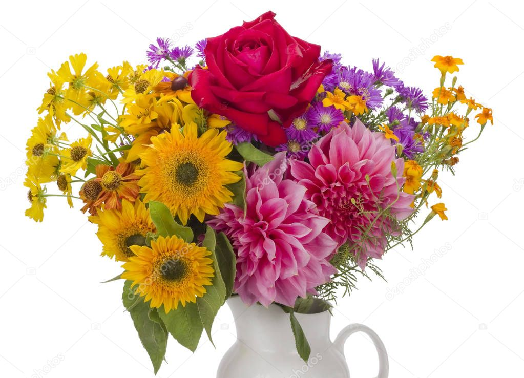 Strau aus September Blumen  Stockfoto  vilaxlt 130065116