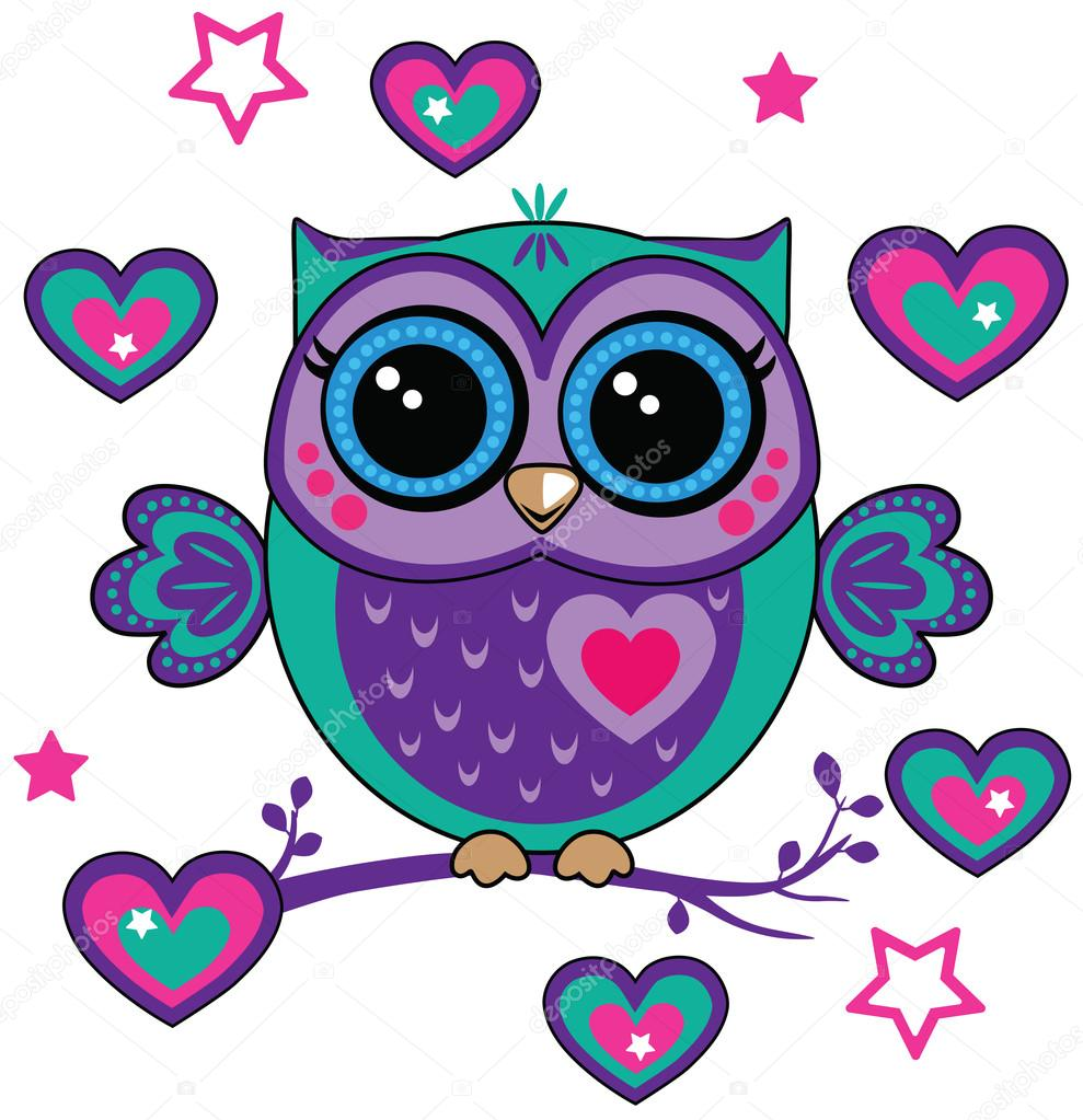 Cute Owl With Hearts Stock Vector C Penochka1 128144884